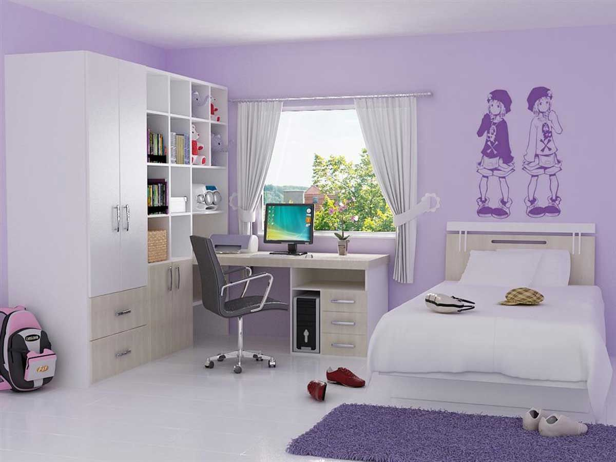 purple paint ideas for bedroom: nice bedroom with white floor and