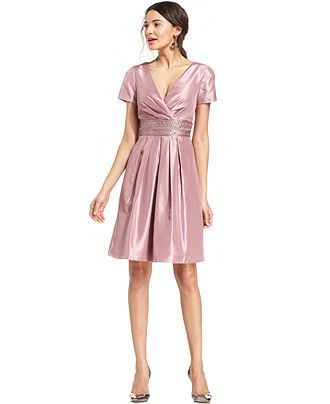 f7379bce226a JS Boutique Beaded Pleated Faux-Wrap Dress - Dresses - Women - Macy's