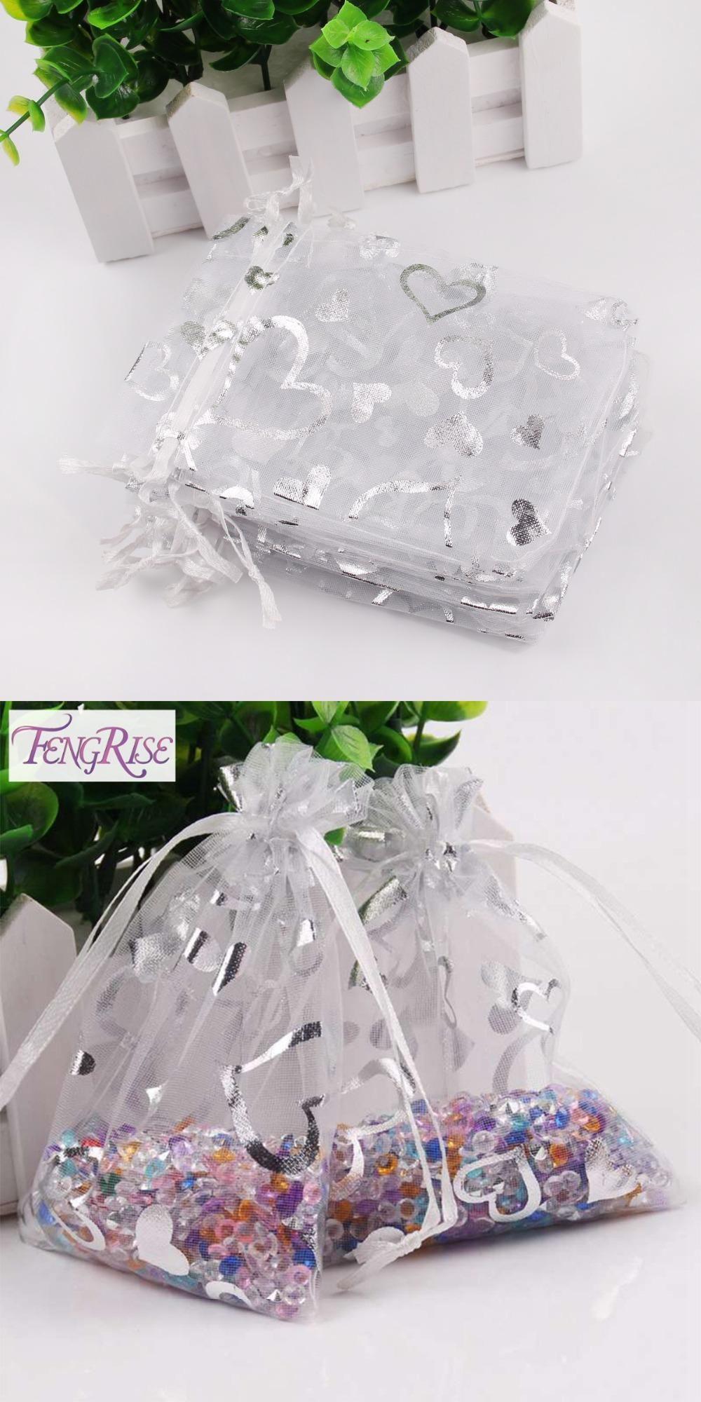 FENGRISE White Organza Bags 50Pcs Silver Heart Organza Pouches ...