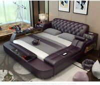 Modern All In One Leather Double Bed With Speakers Storage Safe