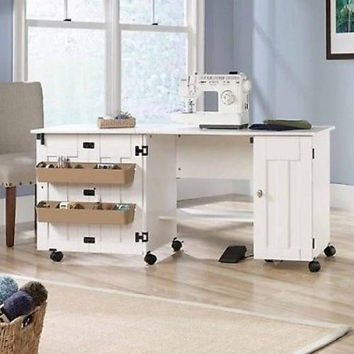 Sewing Machine Table Craft Storage Desk White Shelves New Folding Drop Leaf Long Sauder Craft Cart Craft Table Sewing Rooms