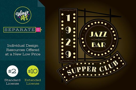 art deco jazz club logo template by wing s art on creativemarket