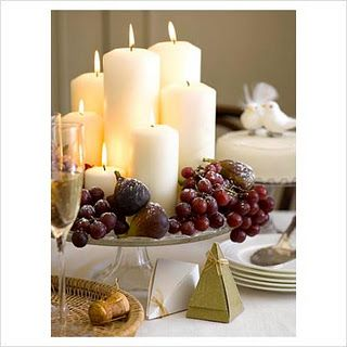 3 Big Fat White Candles In Abundance  Celebrate  Christmas Classy Dining Room Centerpiece Ideas Candles Design Decoration