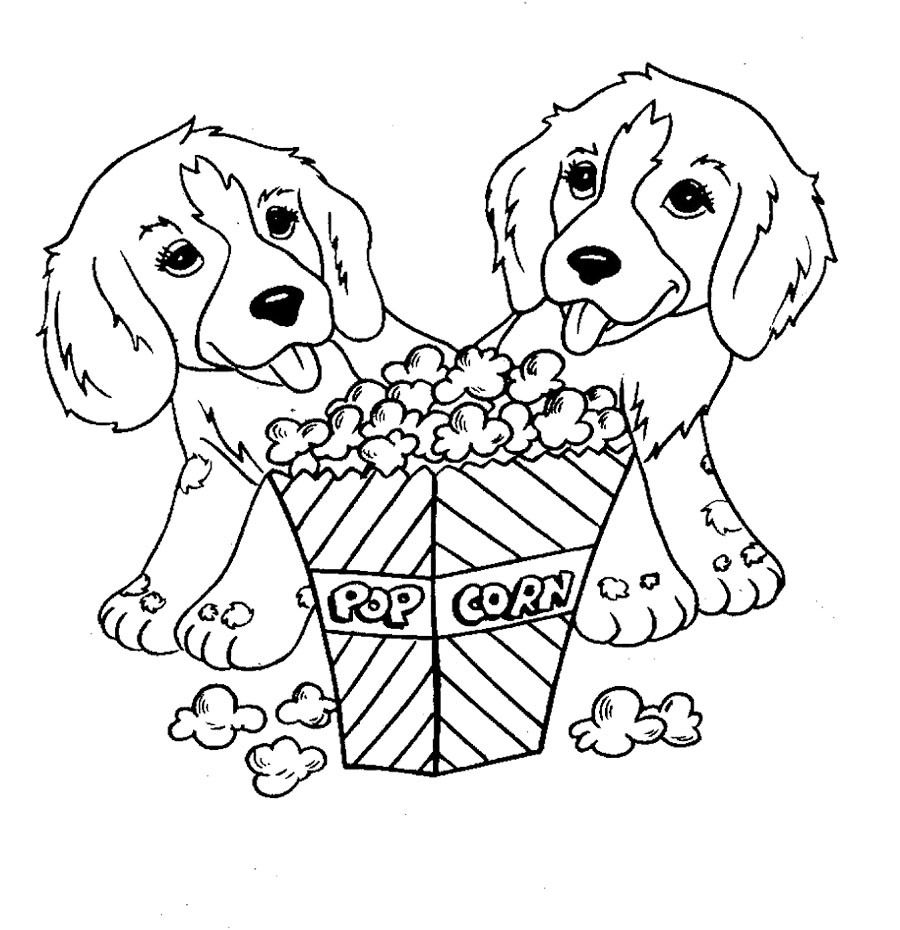 Pictures Two Dog Eat Popcorn Coloring Pages Puppy Coloring Pages Dog Coloring Page Animal Coloring Books