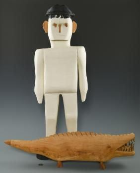 Lot: 2 Herbert Baggett Carvings, Man and Alligator, Lot Number: 0660, Starting Bid: $175, Auctioneer: Case Antiques, Inc. Auctions & Appraisals, Auction: Winter Fine Art and Antiques Auction, Date: January 21st, 2017 EST