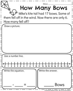 First Grade Subtraction Word Problems Word Problems First Grade Words Subtraction Word Problems