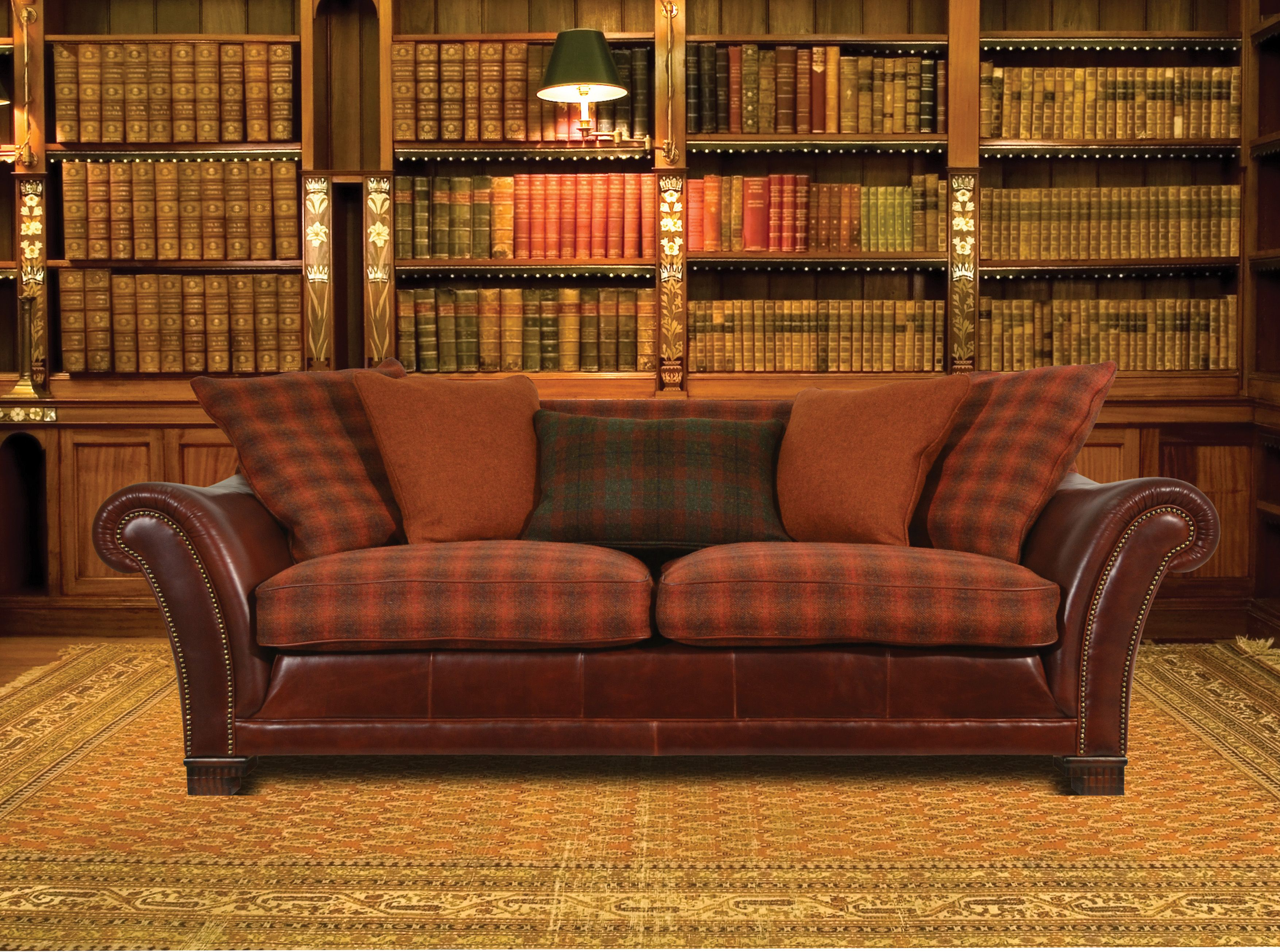 Harris tweed leather sofa A Romantic Home Pinterest