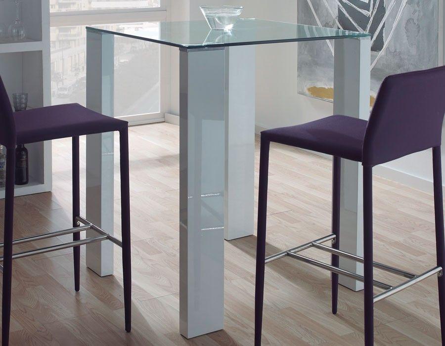 table haute design verre et laqué blanc berta   table haute