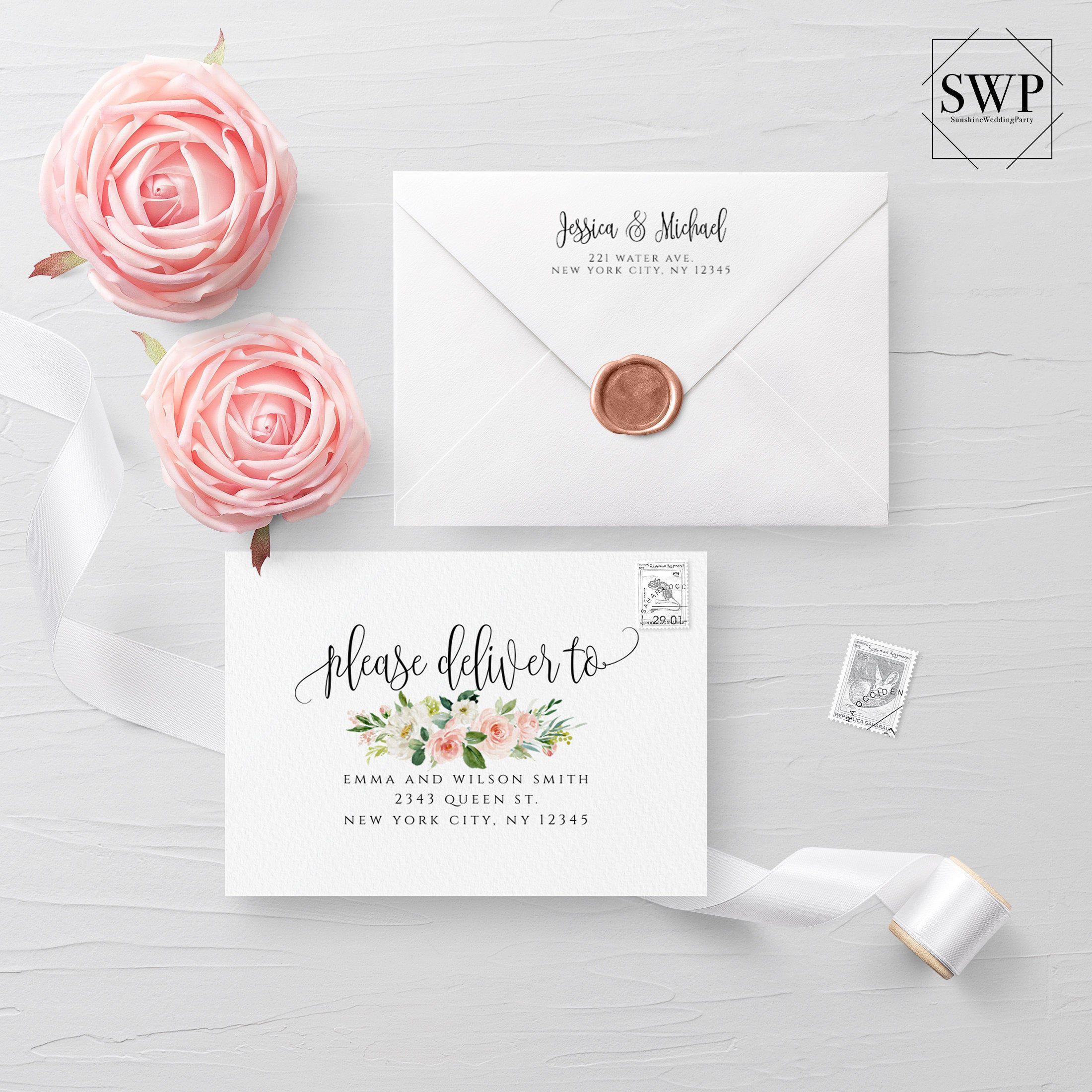 Floral Envelope Template Wedding Editable Diy Printable Wedding Envelope A7 A6 A1 Envelope Address Template Instant Download Templett F5 Printable Wedding Envelopes Wedding Templates Envelope Addressing Template