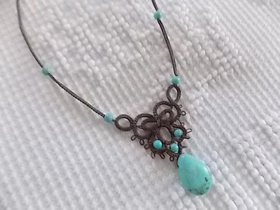 Tatted Jewelry  Turquoise Color Beads by sewingnanac on Etsy  Pattern by Joelle…