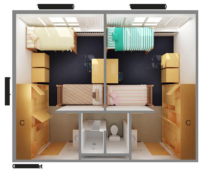 Suite Room Floor Plan: Top View CSU 5