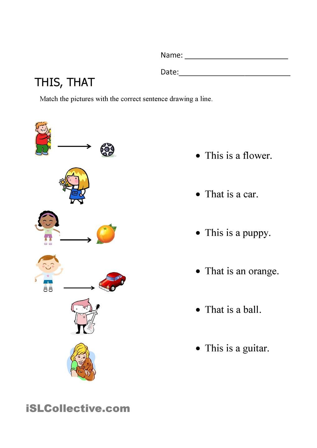 This, That matching exercise | Kids Learning | Pinterest