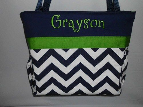 Chevron In Navy Green Accents Diaper Bag Bottle Pockets Monogrammed Free