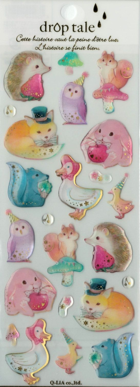 Kawaii Japan Sticker Sheet Assort Epoxy Droptale Series: WOODLAND ANIMALS Fantasy Fox Squirrel Rabbit Owl Watercolor Artistic Sweet Whimsy