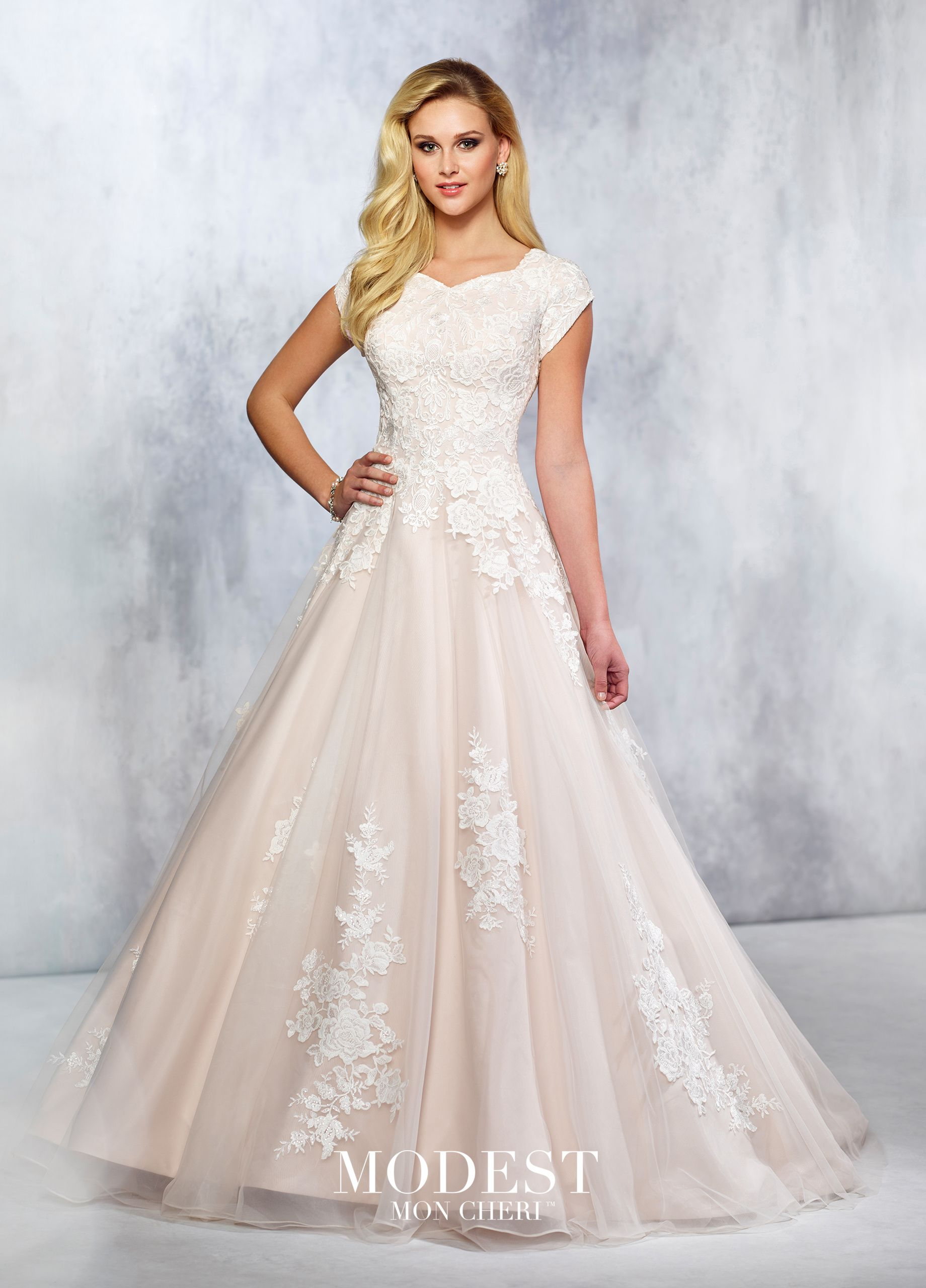 a04a48db05c mon cheri wedding dress TR21714 - Tulle and Belgium lace full A-line gown  with lace accented cap sleeves