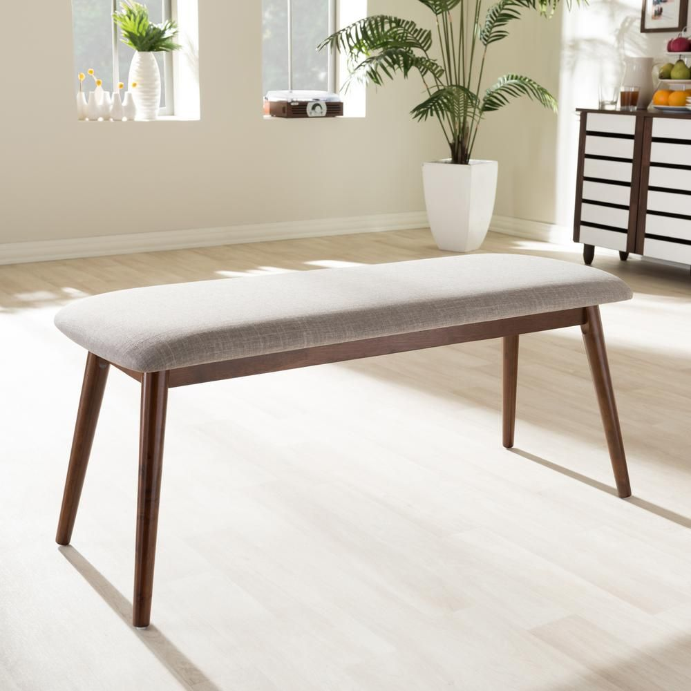 Cool Baxton Studio Flora Beige Fabric Upholstered Dining Bench Gmtry Best Dining Table And Chair Ideas Images Gmtryco