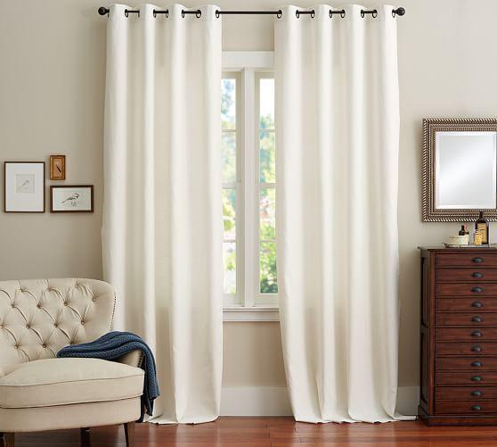 emery linen cotton grommet drape pottery barn living room pinterest linen curtains. Black Bedroom Furniture Sets. Home Design Ideas