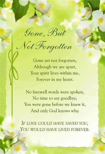 Gone but not forgotten quote via Carol's Country Sunshine on