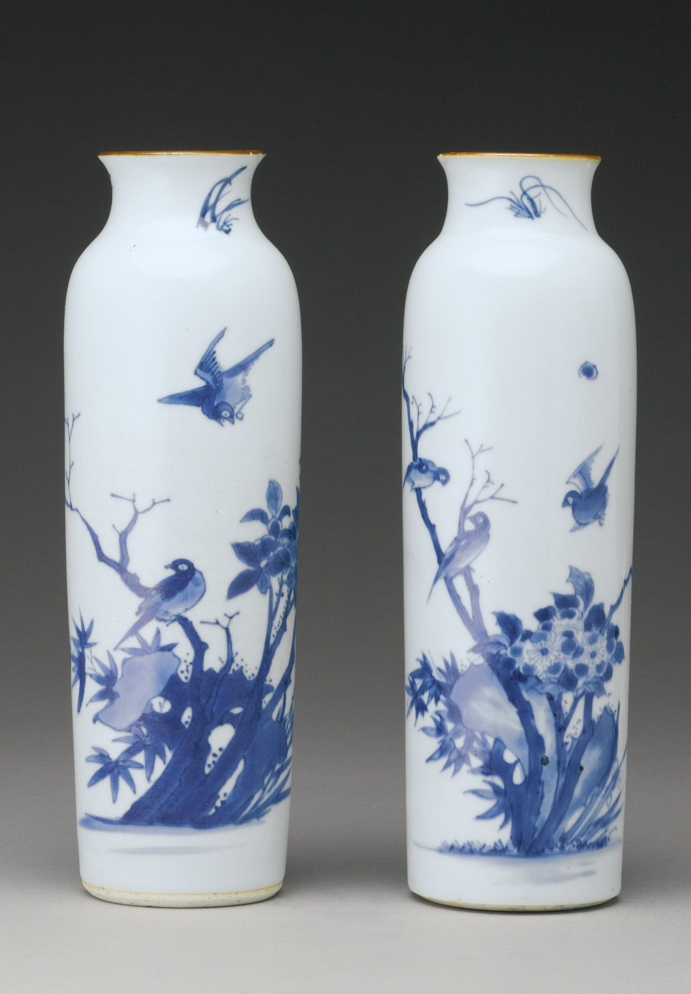 A pair of blue and white sleeve vases transitional period 17th a pair of blue and white sleeve vases transitional period 17th century reviewsmspy