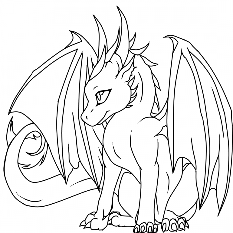 Dragon Coloring Pages The Article Features Both Realistic And Cartoon Forms Of Dragons Like Flyi Easy Dragon Drawings Dragon Coloring Page Cute Dragon Drawing