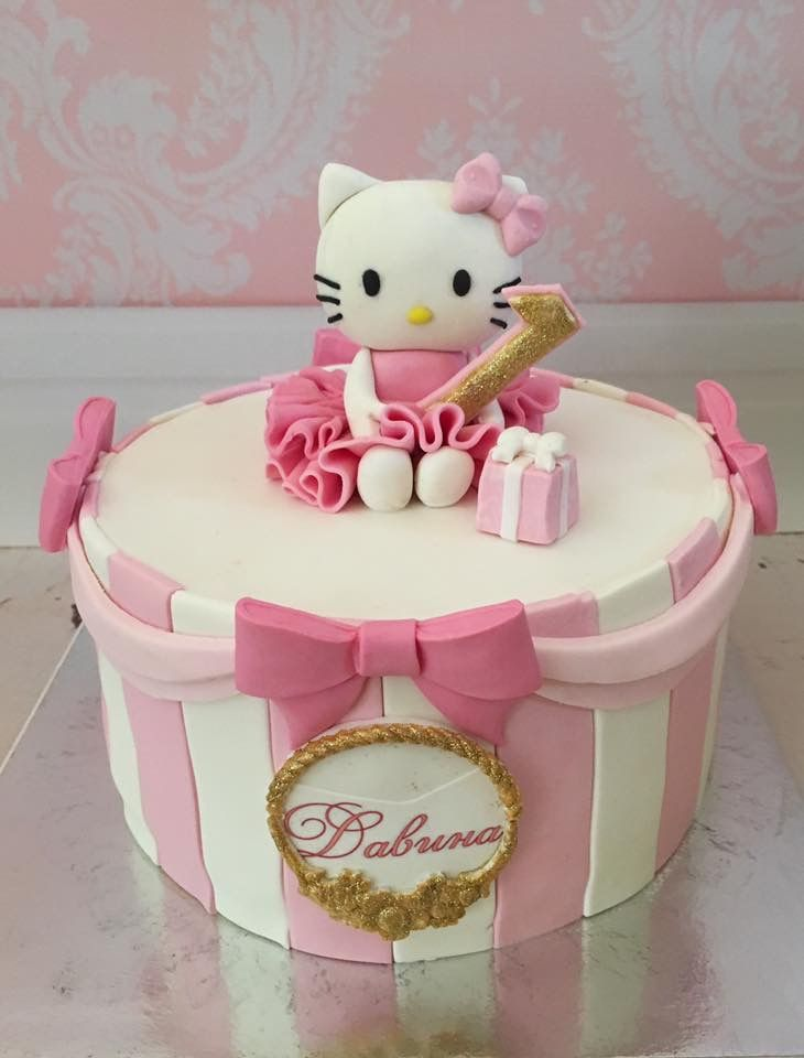 Hello Kitty Birthday Cake In Pink And Gold Baby Girl Cakes