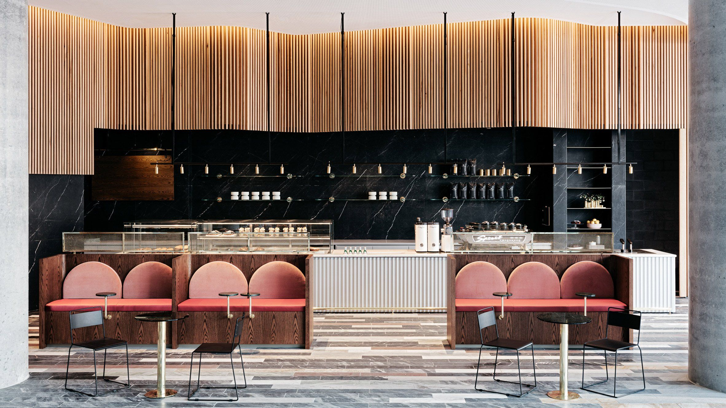 The Restrained Opulence Of Historic Banks And Treasuries Informed The Interior Of This Coffee Shop In Syd Bar Design Restaurant Cafe Design Bar Design Awards
