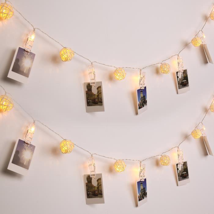 Guirlande Lumineuse 40 LED Boules Rotin 4M Clips P