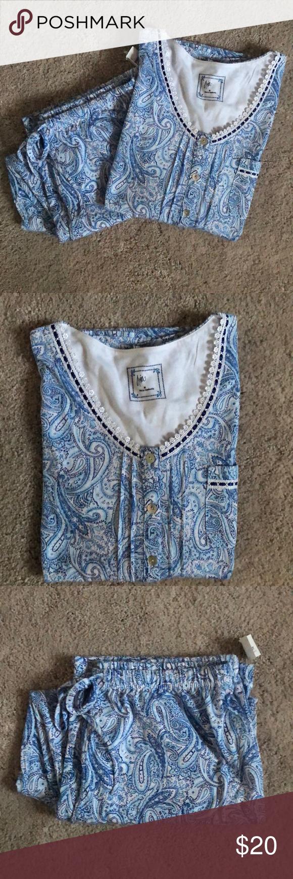 Nwtaria Pajama Set Size Medium New With Tag Blue Patterned Aria