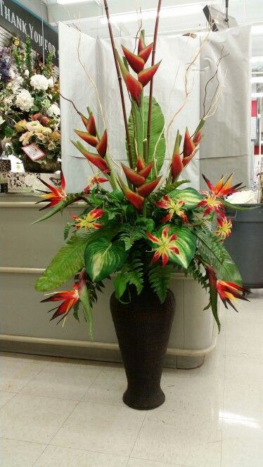 Tropical Entryway Piece Flores Arreglos Florales