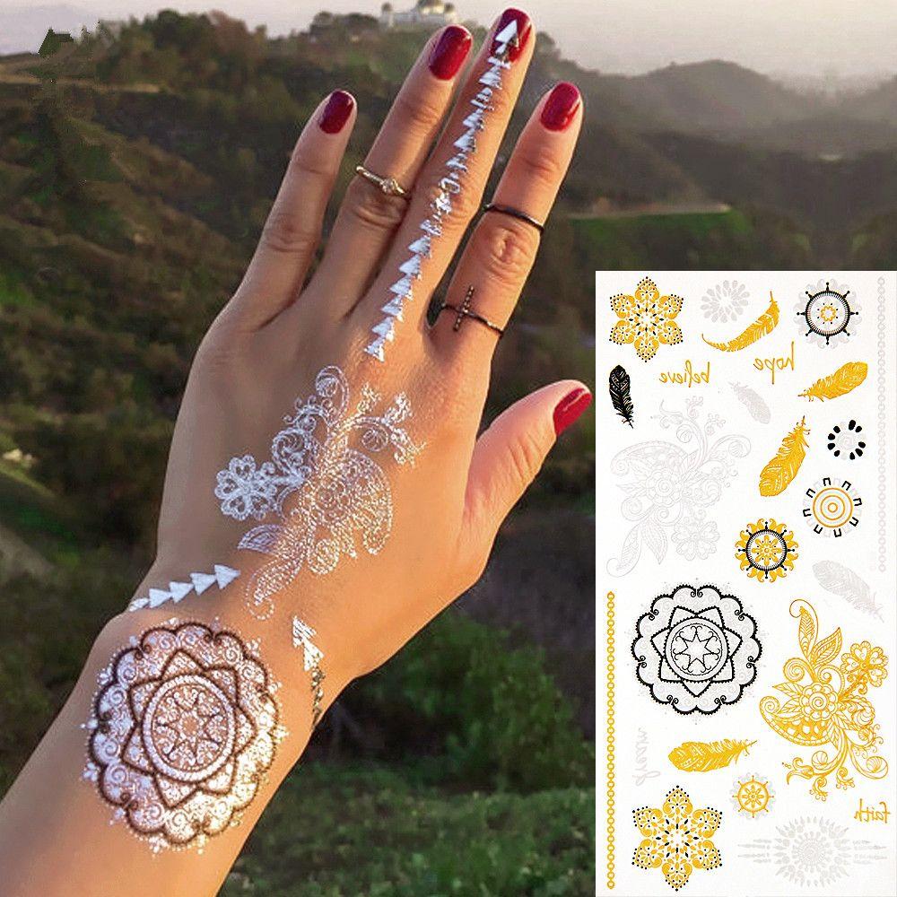 new fashion environmental metalic silver gold temporary body