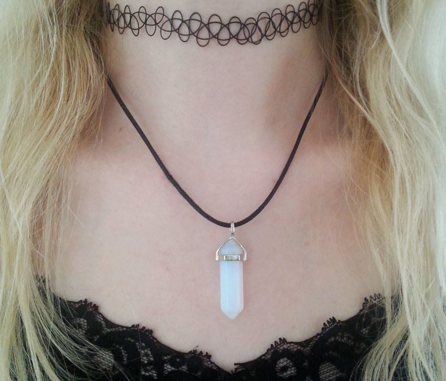 Excellent Opal Crystal choker necklace, opalite, healing crystal, crystal  EG39