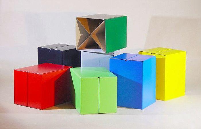 Hocker SITZWÜRFEL 5 Stck | Möbel aus pappe, Stangen und Pappe