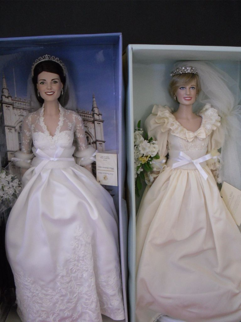 Franklin Mint Kate Middleton Princess Diana Wedding Dolls Ships ...