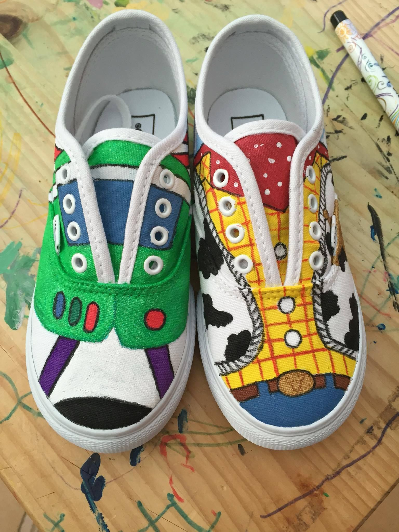 98dfbe6917 toy story woody and buzz painted Vans. toy story woody and buzz painted Vans  Disney Painted Shoes ...