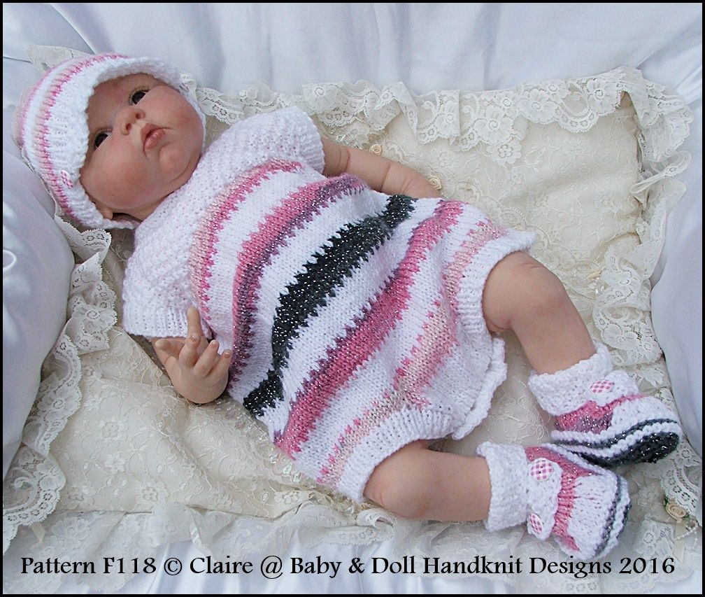 "Sleeveless romper set 16-22"" doll/0-3m+ baby-knitting pattern, baby, doll, babydoll handknit designs, reborn"