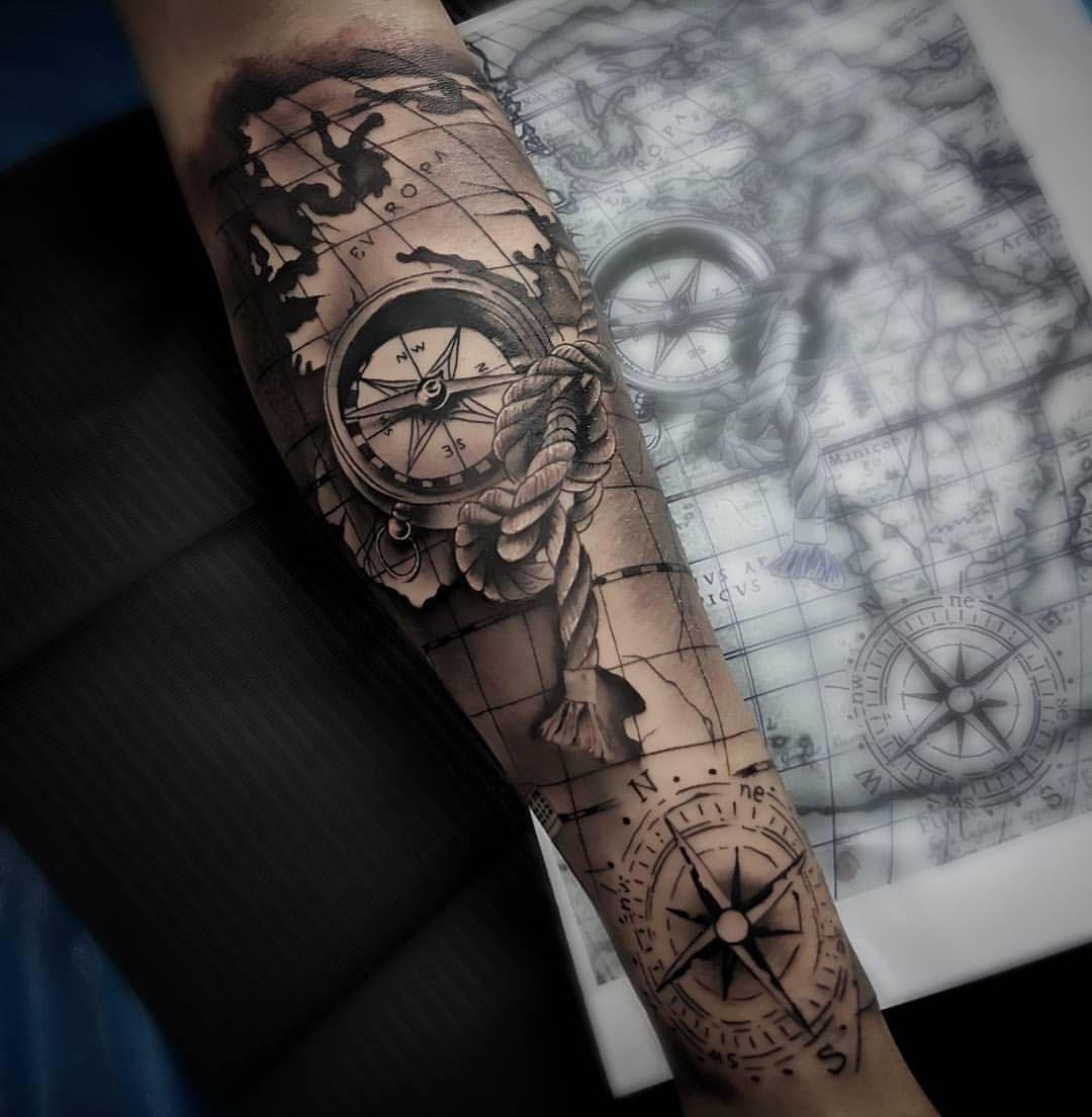 Volvemos A Los Mapas Tattoo Tatuaje Brujula Compass