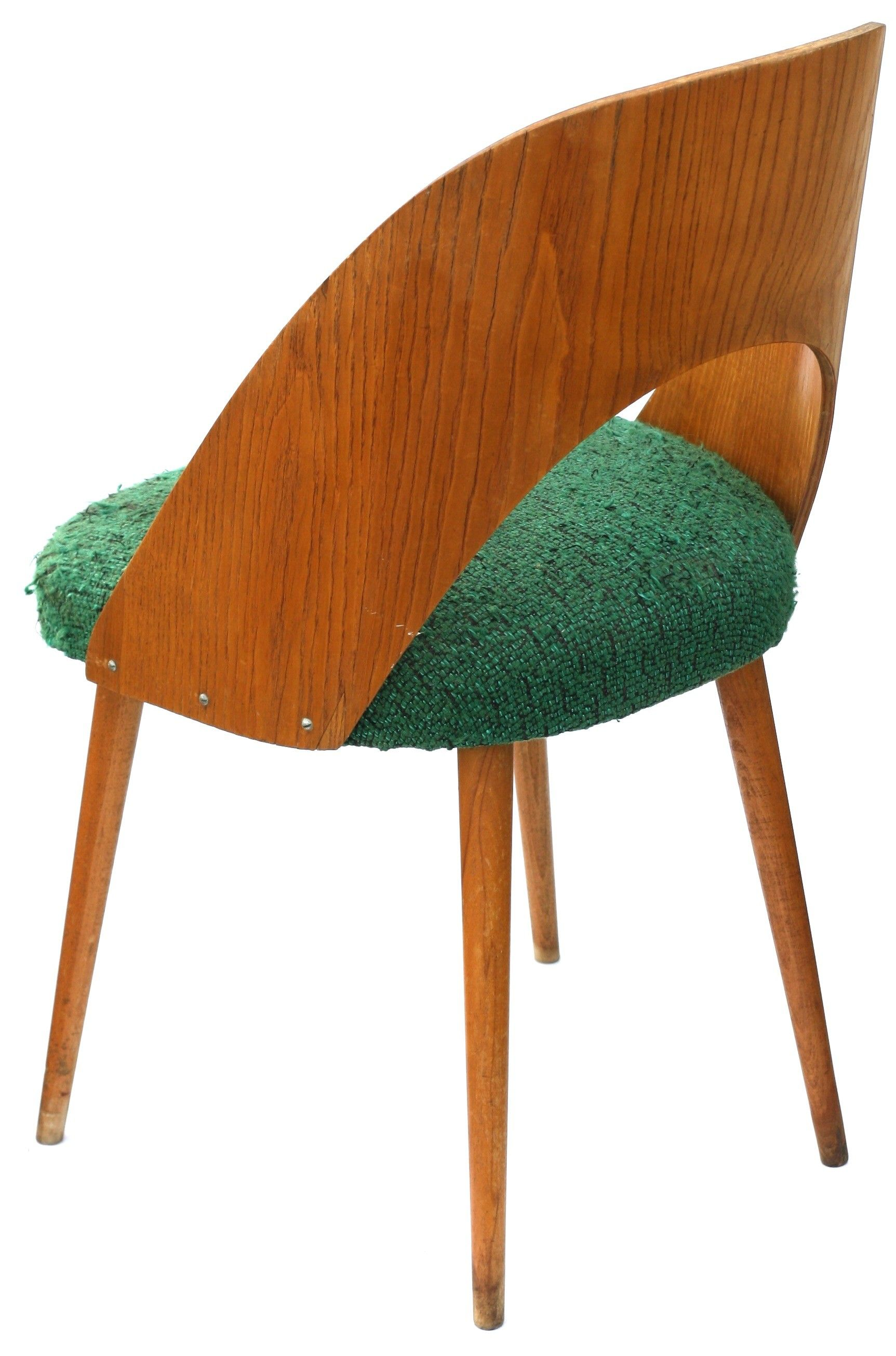Chair In Plywood And Green Fabric By Antonin Suman For