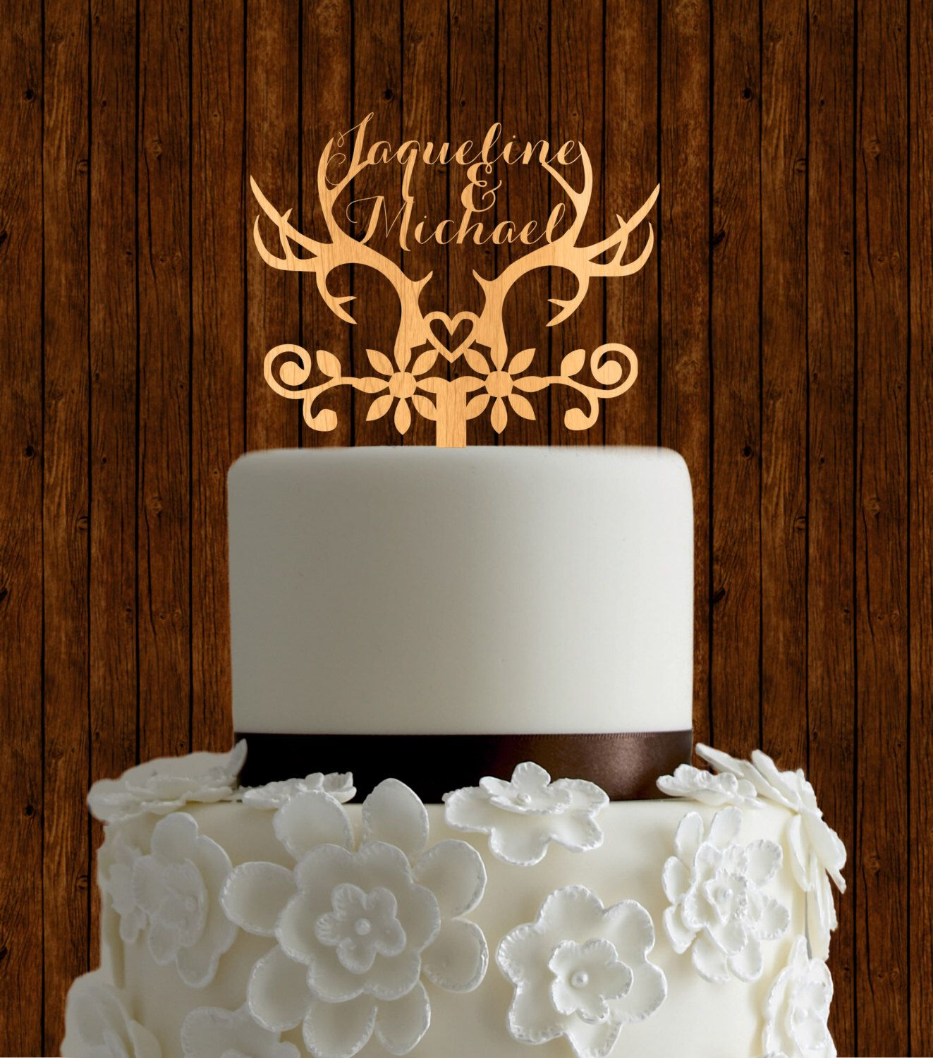 Antlers cake topper, rustic cake topper, wedding cake topper, unique ...