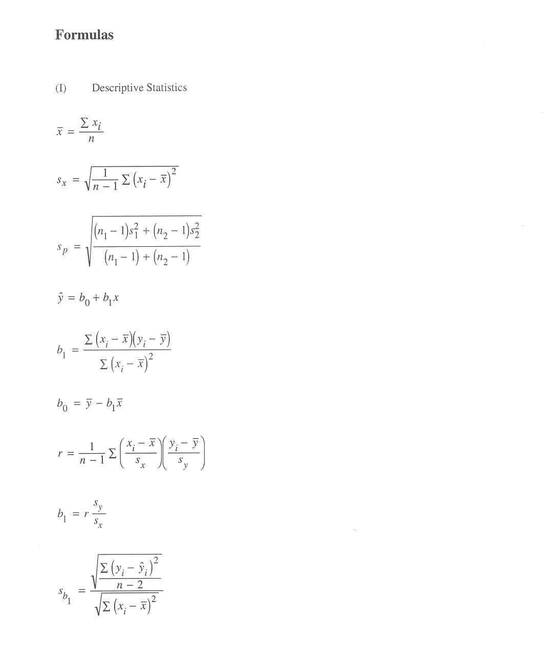 Statistics Formulas And Distribution Tables