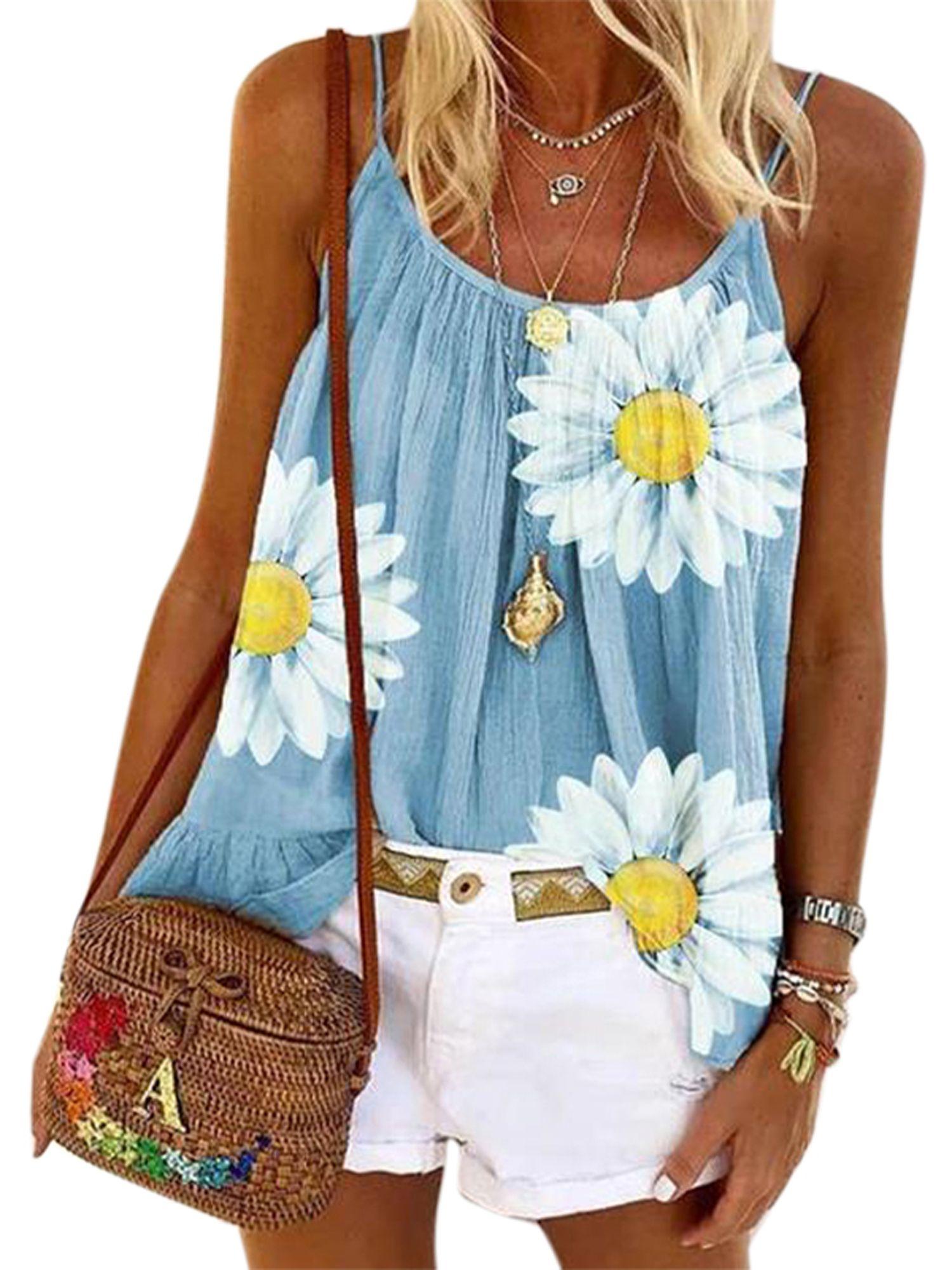 Wodstyle Women S Floral Vest Summer Tank Tops Beach Cami Loose Shirt Plus Size Blouse Walmart Com In 2020 Casual Tank Tops Casual Tanks Printed Tank Tops [ 2000 x 1500 Pixel ]