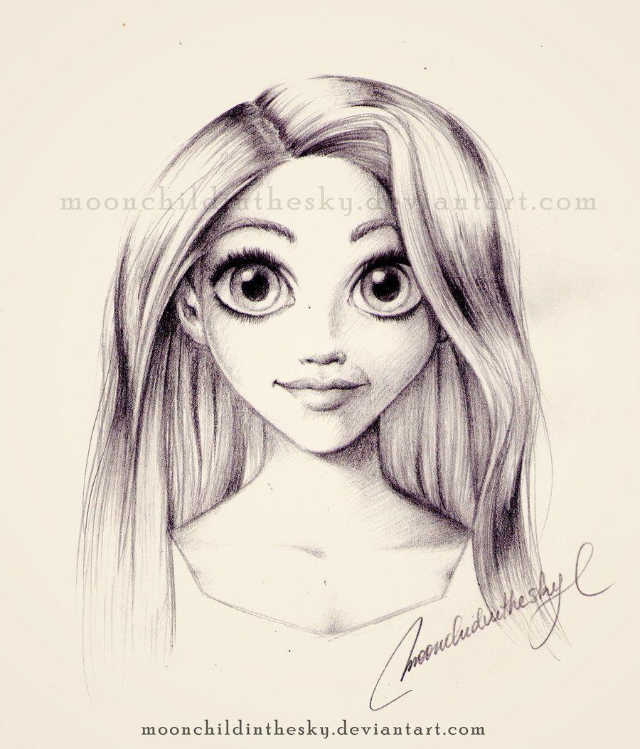 Rapunzel Portrait BnW by MoonchildinTheSky.deviantart.com on @deviantART