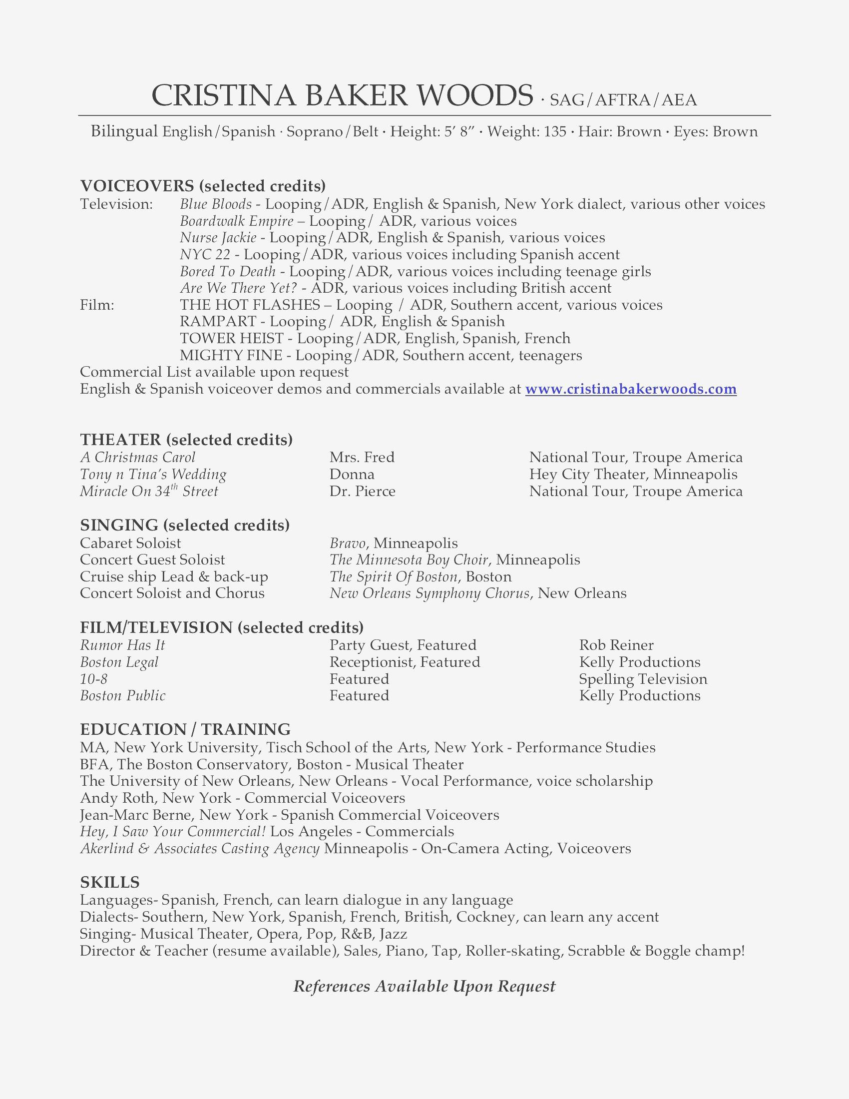 Special Skills for Acting Resume Lovely Acting Resume