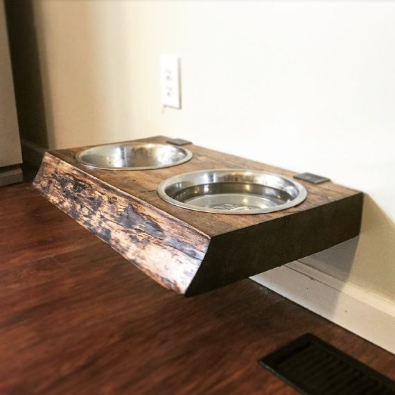 Dog Food Stand Holder Elevated Dish Live Edge Wood with by UrbanID