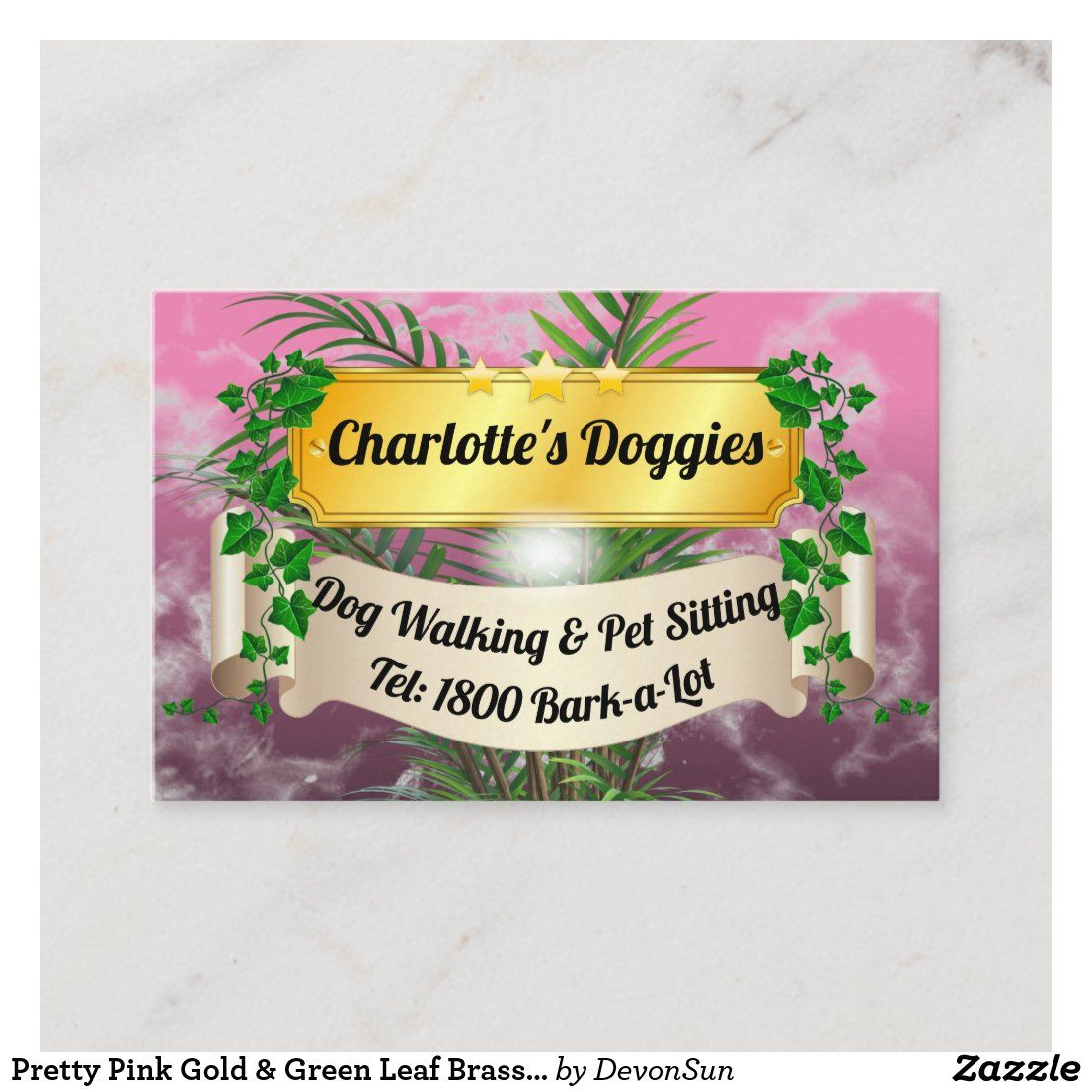 Pretty Pink Gold & Green Leaf Brass Plaque Business Card
