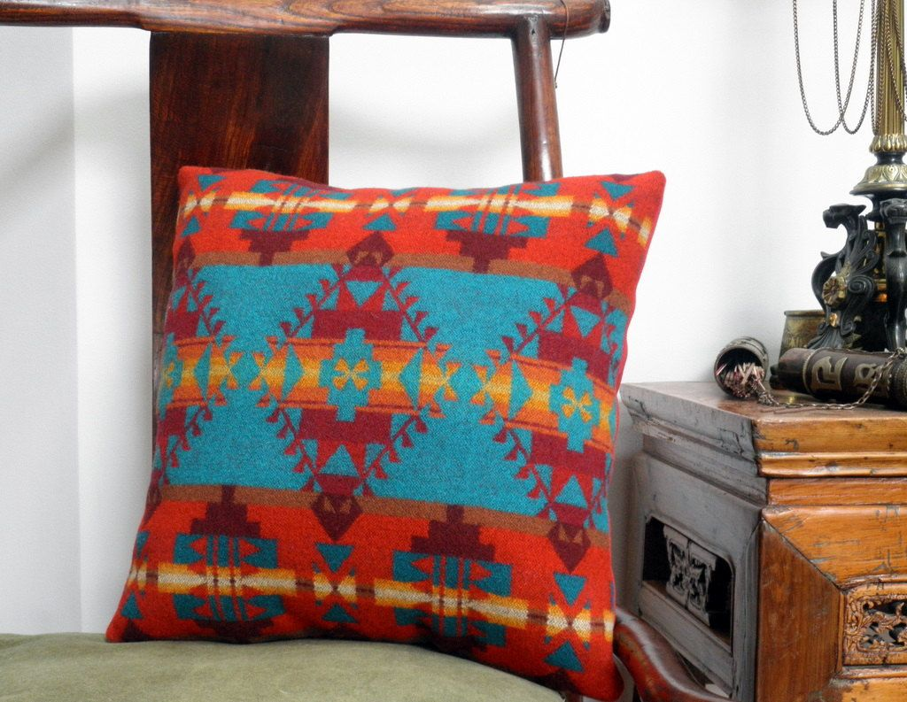 Navajo Throw Pillow Pendleton Wool Tribal Meets Bright