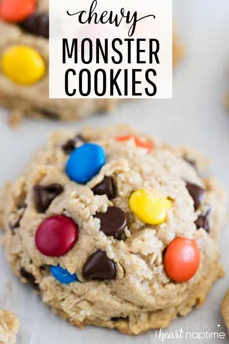 Monster Cookie Monster Cookies - Thick, chewy, soft baked cookies filled with peanut butter, oats and double the chocolate. These monster cookies are easy to make and super delicious to eat!
