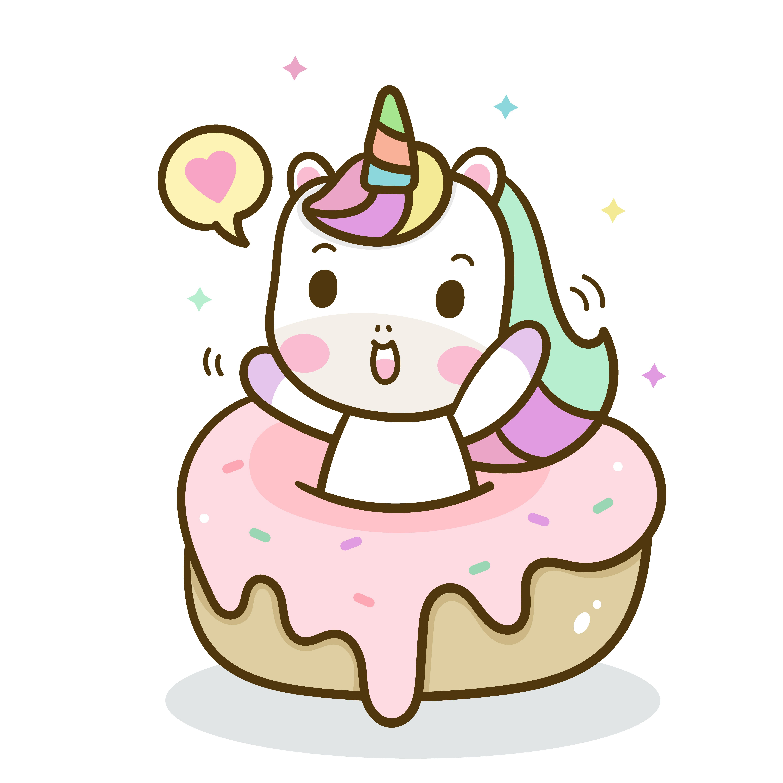 Cute Unicorn Vector Donut Cake Happy Birthday Kawaii Animal Pony