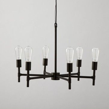 Classy industrial chandelier with a bit of a turn-of-the-century flavor, from West Elm. Looks great with edison bulbs! - Only $200.
