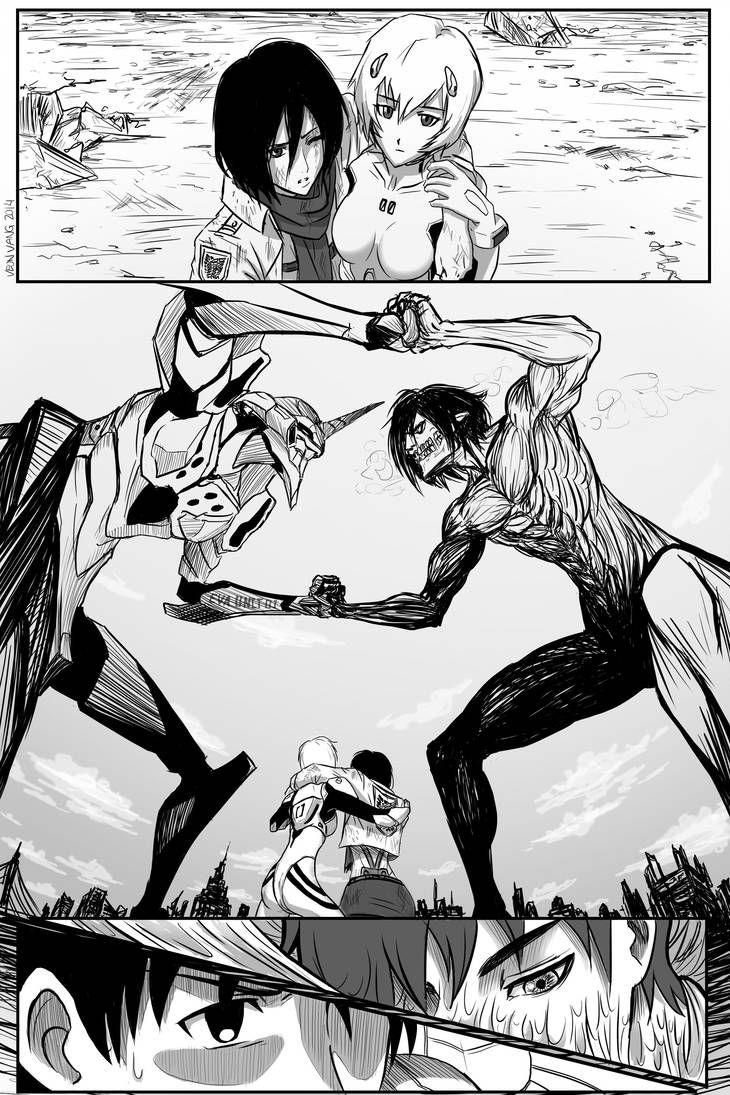 Eva Unit 01 vs Eren Titan by VeonKun Evangelion art