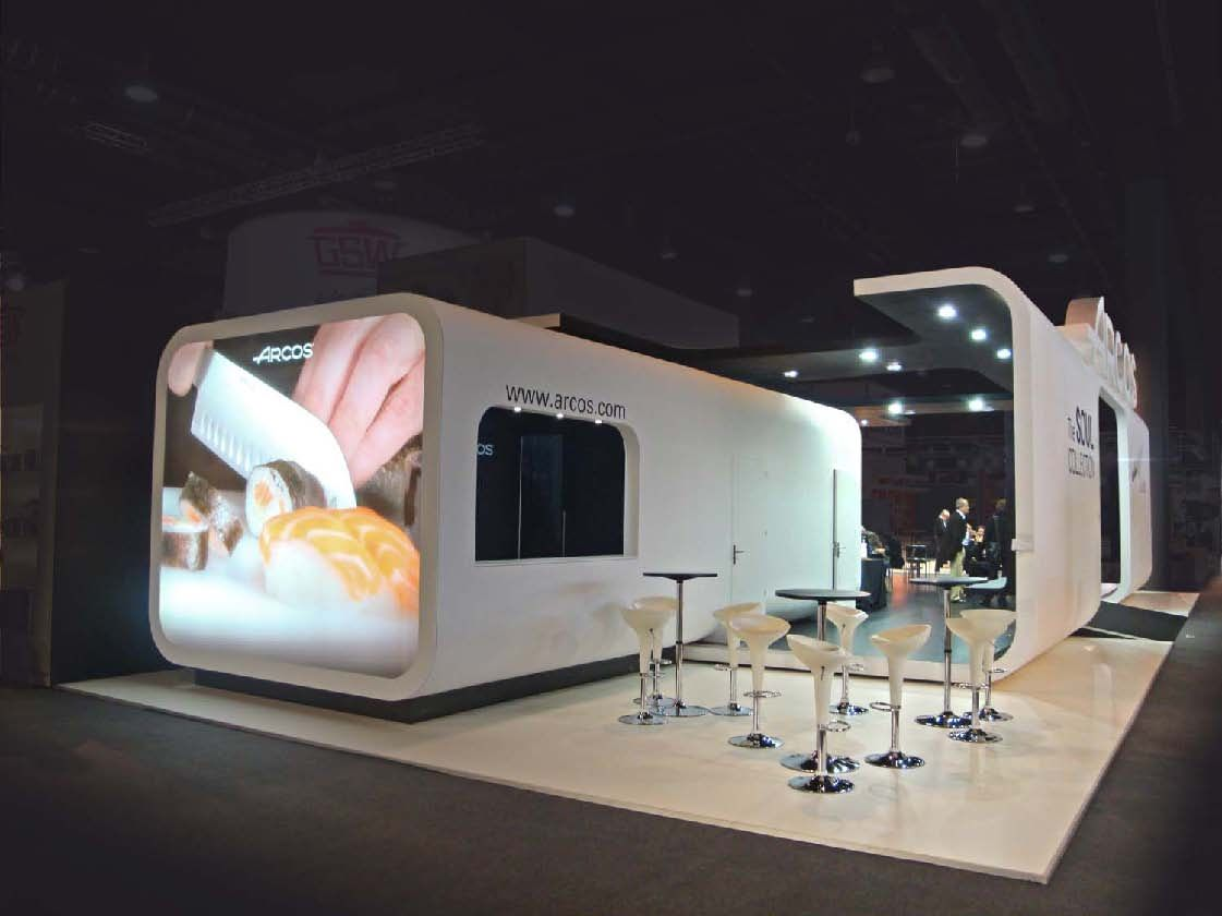 Exhibition Stand Design Leeds : Stand arcos back wall arch with platform for demos